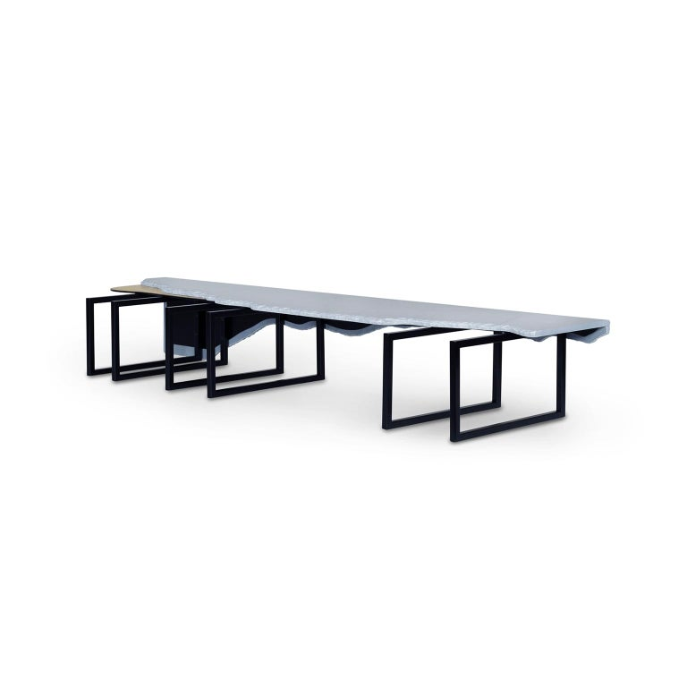 Modern Aire Coffee Table XL Bardiglio Marble Matt Finish Oxidized Brass Black Lacquered For Sale