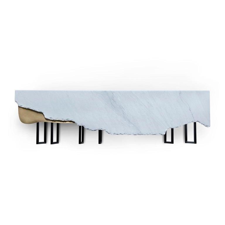 Portuguese Aire Coffee Table XL Bardiglio Marble Matt Finish Oxidized Brass Black Lacquered For Sale