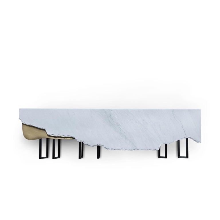 Modern 21st Century Aire Coffee Table XL Bardiglio Marble Oxidized Brass For Sale