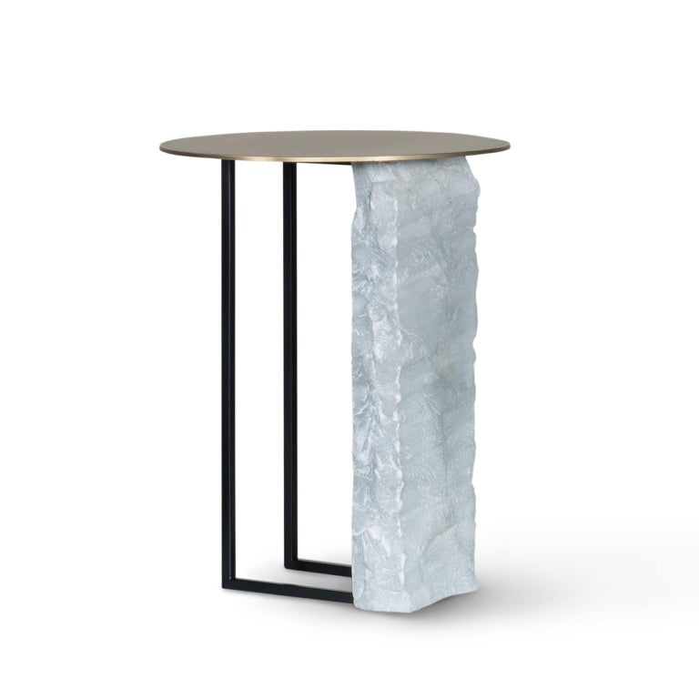 Modern Aire Side Table L Bardiglio Marble Matt Finish Oxidized Brass Black Lacquered For Sale