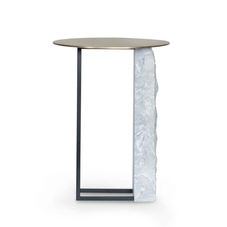 Portuguese Aire Side Table L Bardiglio Marble Matt Finish Oxidized Brass Black Lacquered For Sale