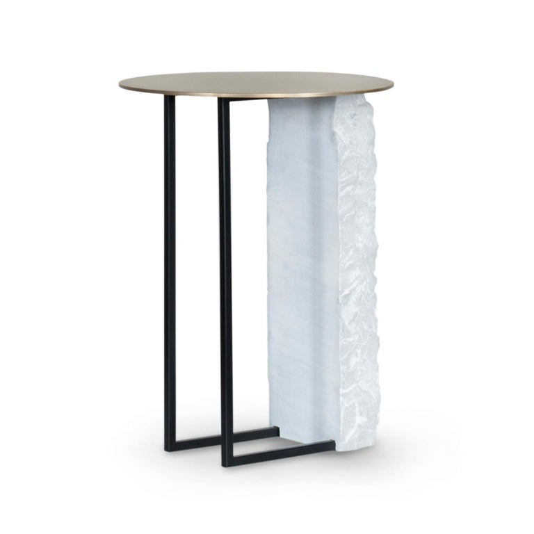 Aire Side Table L Bardiglio Marble Matt Finish Oxidized Brass Black Lacquered In New Condition For Sale In Cartaxo, PT