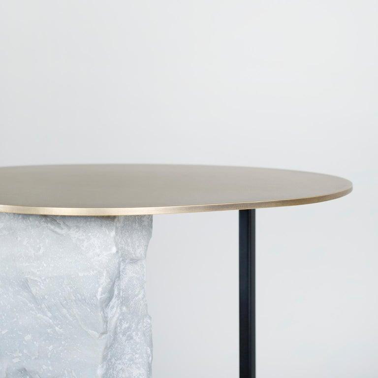 Contemporary Aire Side Table L Bardiglio Marble Matt Finish Oxidized Brass Black Lacquered For Sale