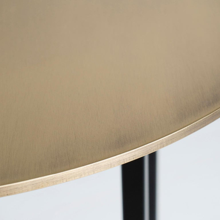 Aire Side Table L Bardiglio Marble Matt Finish Oxidized Brass Black Lacquered For Sale 3