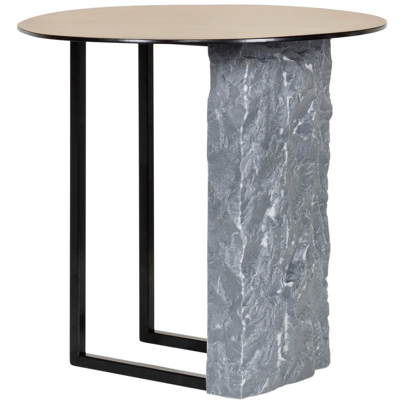 Aire Side Table L Bardiglio Marble Matt Finish Oxidized Brass Black Lacquered