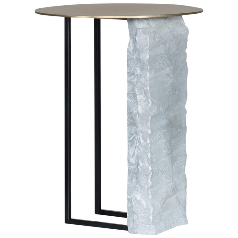 Aire Side Table L Bardiglio Marble Matt Finish Oxidized Brass Black Lacquered For Sale