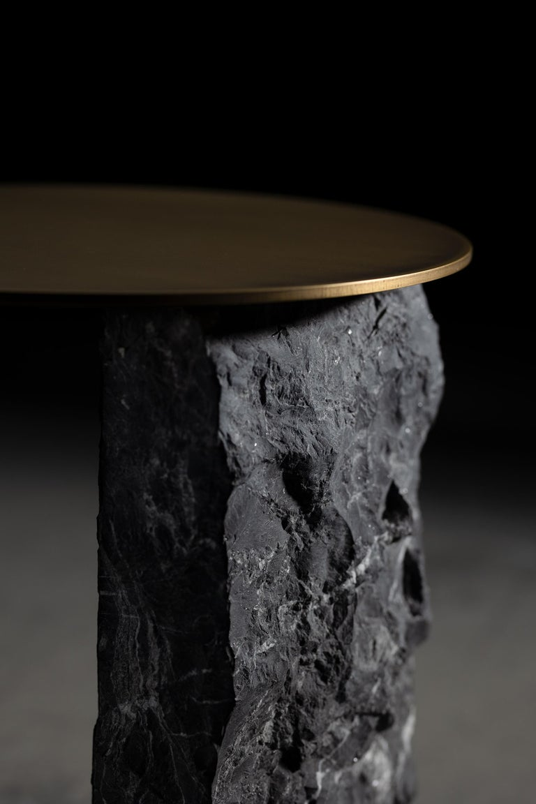 Aire Side Table L Nero Marquina Marble Dark Oxidized Brass Black Lacquered For Sale 3