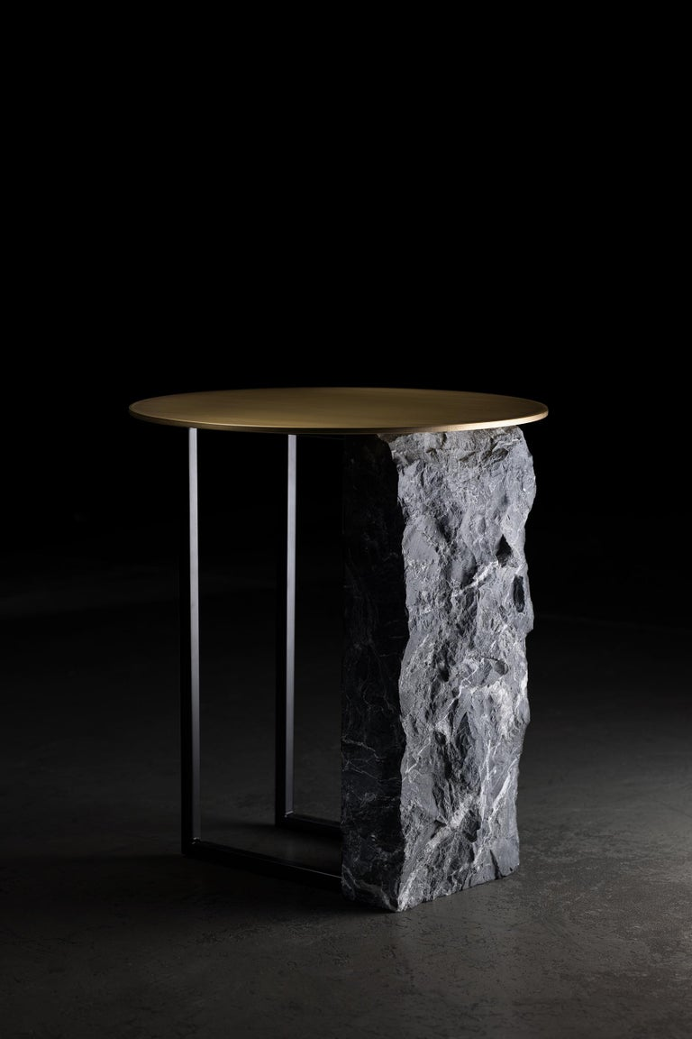 Aire Side Table L Nero Marquina Marble Dark Oxidized Brass Black Lacquered For Sale 4