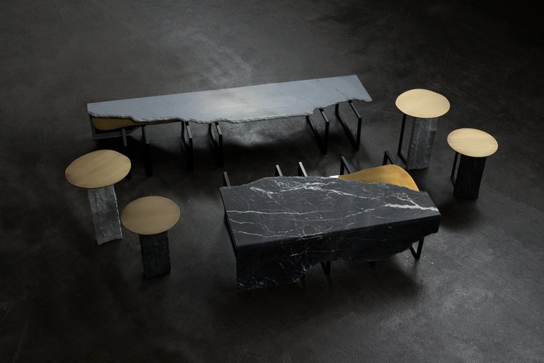 Contemporary Aire Side Table L Nero Marquina Marble Dark Oxidized Brass Black Lacquered For Sale
