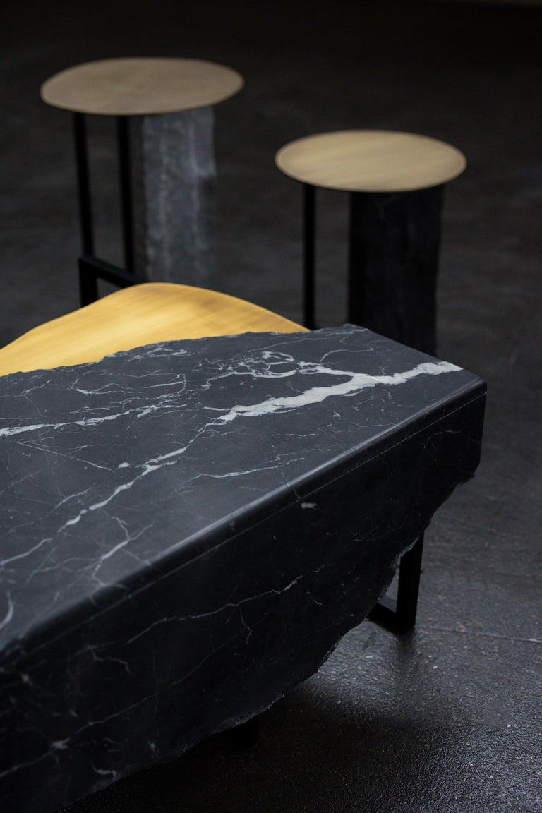 Aire Side Table L Nero Marquina Marble Dark Oxidized Brass Black Lacquered For Sale 1