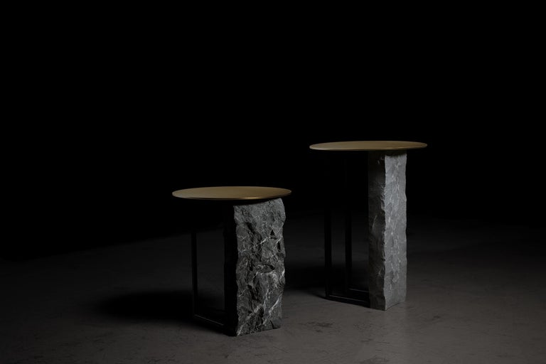 Aire Side Table L Nero Marquina Marble Dark Oxidized Brass Black Lacquered For Sale 2
