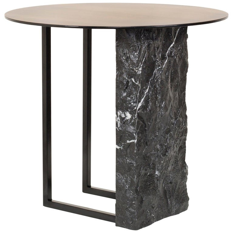 Aire Side Table L Nero Marquina Marble Dark Oxidized Brass Black Lacquered For Sale