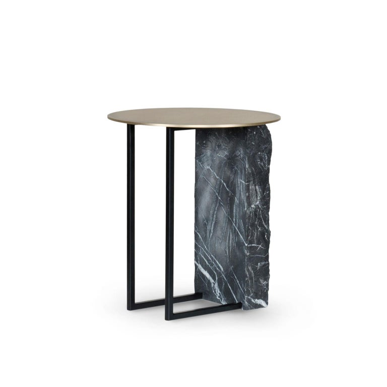 Modern Aire Side Table M Nero Marquina Marble Oxidized Brass Black Lacquered For Sale