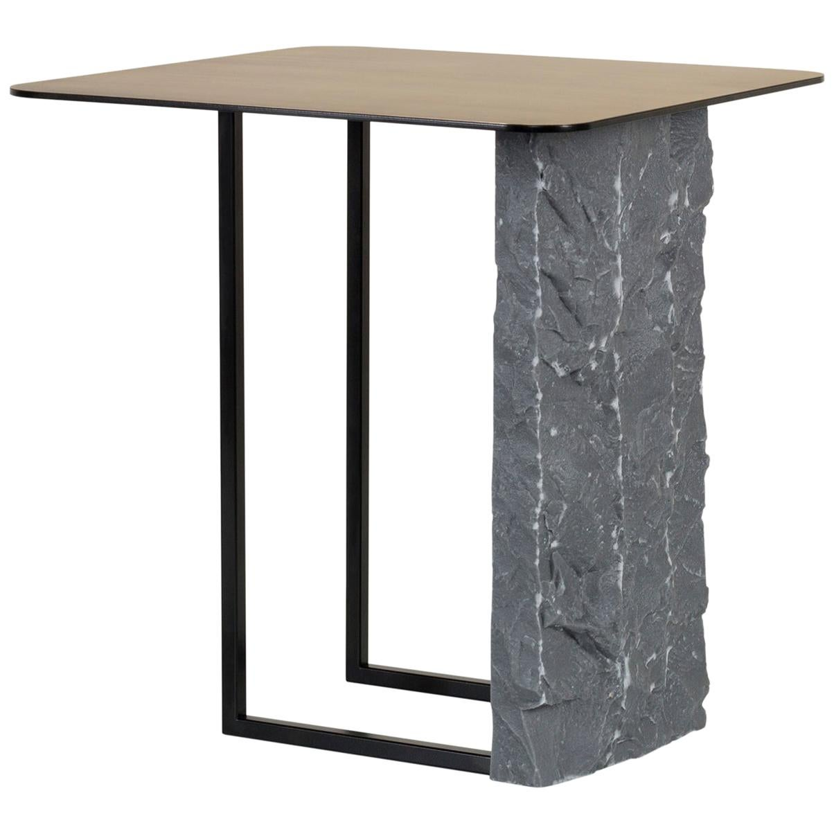 Aire Side Table XL Bardiglio Marble Matt Finish Oxidized Brass Black Lacquered