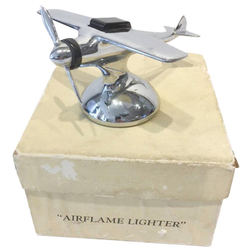 Airflame Lighter, Vintage Chrome Single Propeller Airplane Table Lighter