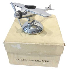 Airflame Lighter, Vintage Chrome Single Propeller Airplane Table Lighter