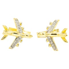Airplane Plane Diamond Yellow Gold Cufflinks