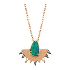 Aisa Blue Opal Necklace in 14 Karat Rose Gold with White Diamond
