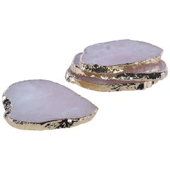 Aitana Quartz Coaster 4-Piece Set in Gold and Rose by CuratedKravet