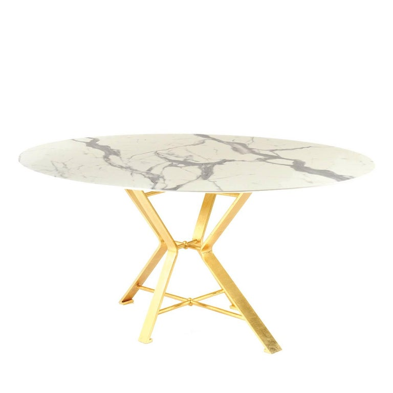 Aix White And Gold Dining Table For