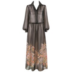 AJ BARI c. 1980's Gray Multi Color Floral Print Sheer Bouffont Sleeve Maxi Dress