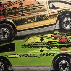 "Photorealist green and yellow cars, ""Spoiler Sport Stack"", oil on canvas, 2018"