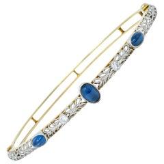 A.J. Hedges Edwardian Diamond Sapphire Platinum 14 Karat Gold Bangle Bracelet