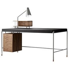 AJ52 Small Society Table & Lamp Module in Walnut Oil by Arne Jacobsen