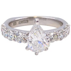 A.JAFFE Pear Shape 1.61 Carat Diamond Engagement Ring 18 Karat White Gold IGI