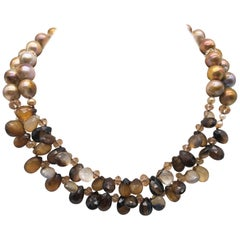 A.Jeschel 2 Strand faceted Sardonyx and natural gold pearl necklace.