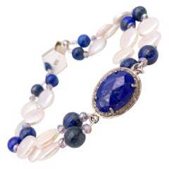 A.Jeschel 2 strand lapis and pearl delicate bracelet.