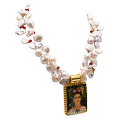 A.Jeschel 2 strand pearl necklace surrounds Russian hand-painted pendant.