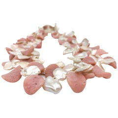 A.Jeschel 2 strand Pink Opal and Pearl necklace.