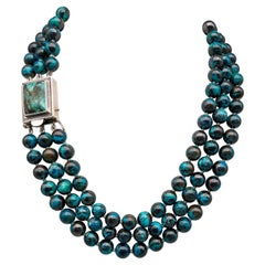 A.Jeschel  3 strand Chrysocolla Necklace in a glorious Splash of color