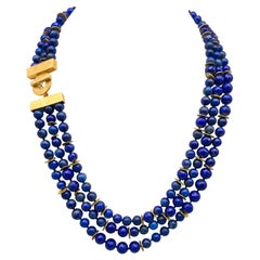 A.Jeschel 3 Strand Lapis Necklace