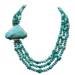 A.Jeschel 3 strand Natural American Kingman mine Turquoise Necklace