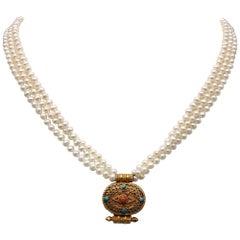 A.Jeschel 3 strand Necklace of delicate Pearls suspend a small Ghau Box.
