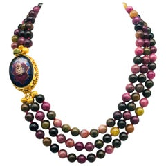 A.Jeschel  3 Strand Richly Colored Tourmaline Necklace