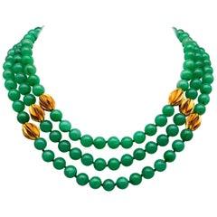 A.Jeschel 3 strand superb bright green Chrysoprase necklace