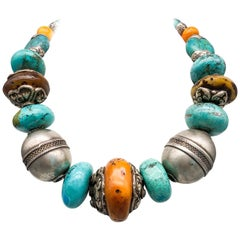 A.Jeschel  Dramatic Tribal Turquoise Necklace