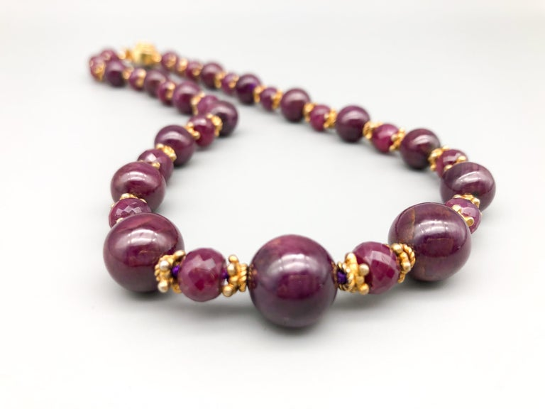 Contemporary A.Jeschel A single graduated strand of Rubies. For Sale