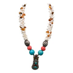 A.Jeschel Amber and Pearl Y Necklace