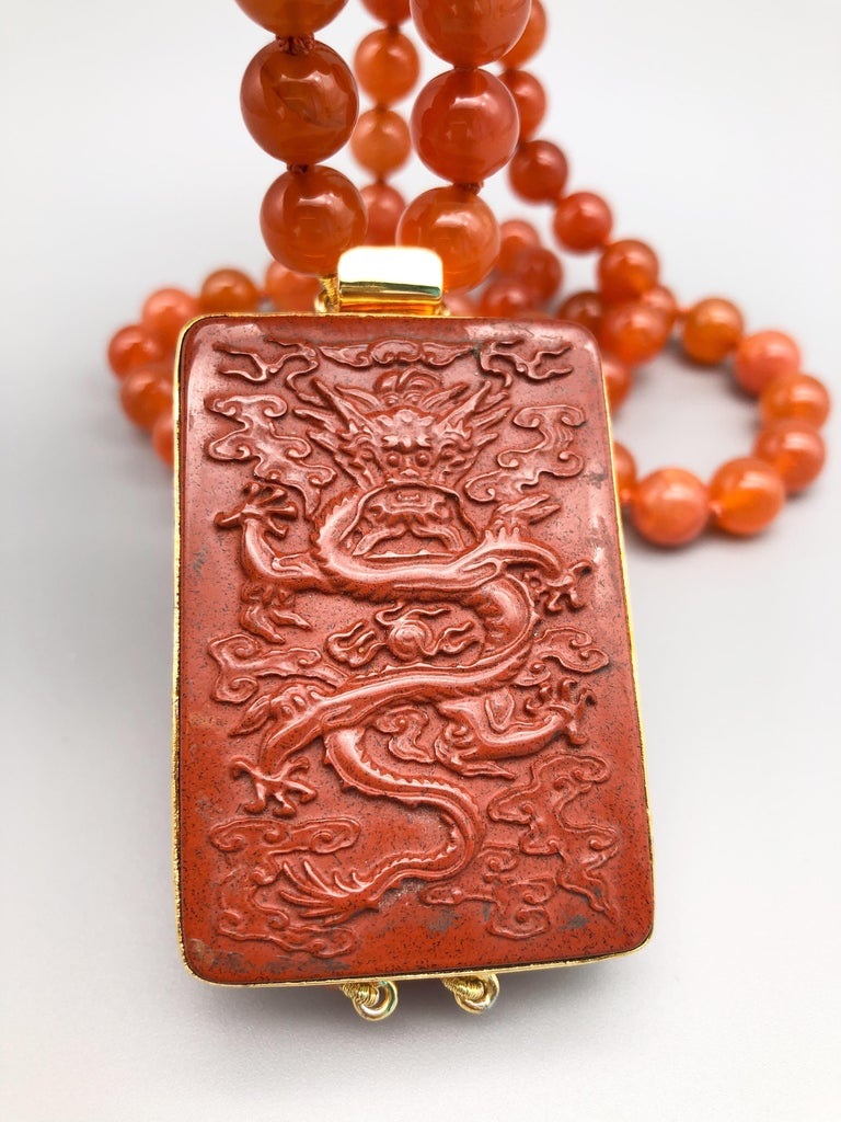 Women's A.Jeschel An Aventurine Dragon clasps a double strand of Carnelian beads For Sale