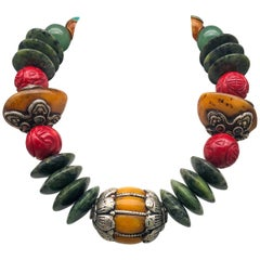 A.Jeschel An Exciting Bold Ethnic Necklace Amber and Tibetan Beads