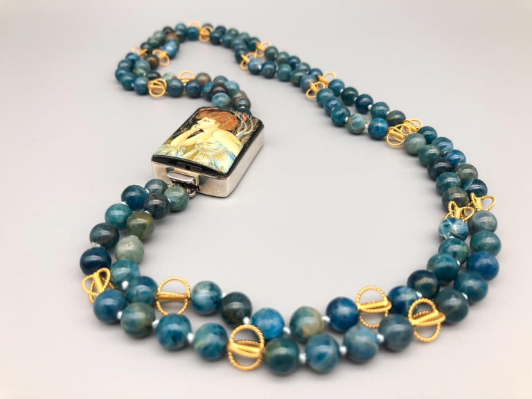 A.Jeschel  Apatite two strand matinee length necklace with Russian Miniature  In New Condition For Sale In Miami, FL