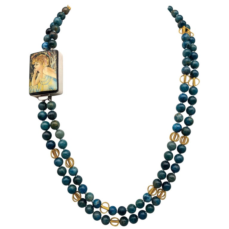 A.Jeschel  Apatite two strand matinee length necklace with Russian Miniature  For Sale