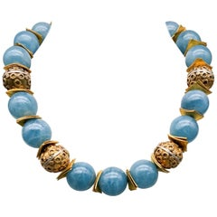 A.Jeschel Aquamarine Gumballs Look Spectacular Necklace