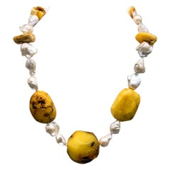 A.Jeschel Baltic Amber and Baroque Pearls Necklace Boldly Harmonize.