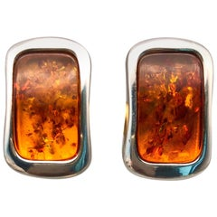 A.Jeschel Baltic Amber and Sterling Silver earrings