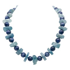 A.Jeschel Blue Kyanite and Natural Aquamarine necklace